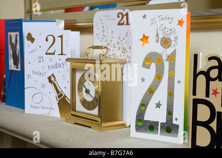 21st Birthday celebration cards - Stock Photo