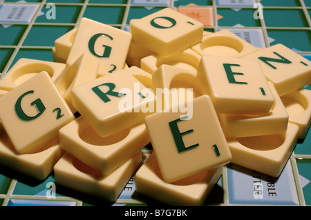 Letters arranged to say 'Go Green' - Stock Photo