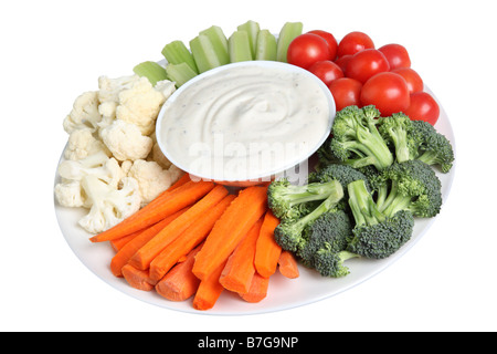 Vegetable tray with cauliflower celery tomatoes broccoli carrot sticks and ranch dip - Stock Photo