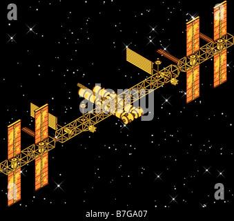 computer enhanced NASA image of International Space Station (ISS) - Stock Photo