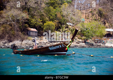 Longtail Boat Coral Island Krabi Provence Southern Thailand South East Asia - Stock Photo