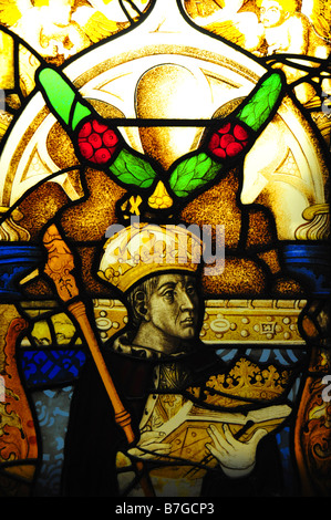 Stained Glass Window at Kings College Chapel, Cambridge University - Stock Photo