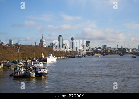 View south from Waterloo Bridge to Blackfriars Bridge over River Thames St Pauls Cathedral London England UK United - Stock Photo