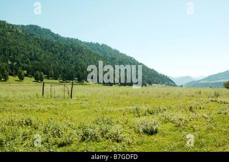 Football goalpost in the Altai mountains, Siberia - Stock Photo