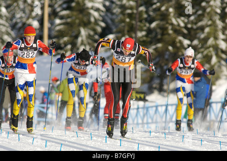 Nordic ski racing at the Whistler Nordic Olympic Park the sight of the 2010 Winter Olympic Games Whistler British - Stock Photo