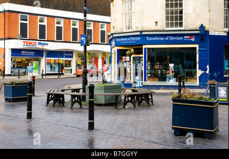 The corner of Sidmouth Street and Monday Market St in the typical English market town of Devizes Wiltshire England - Stock Photo