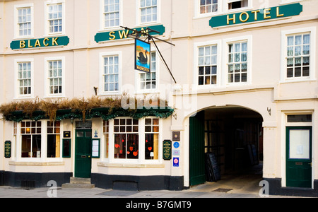 The Black Swan Hotel a Wadworth inn in the typical English market town of Devizes Wiltshire England UK - Stock Photo