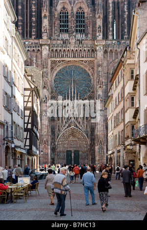 View from the Rue Merciere to the cathedrale Notre Dame - Stock Photo