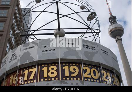 world clock Weltzeituhr by Eric John in Alexanderplatz Berlin - Stock Photo