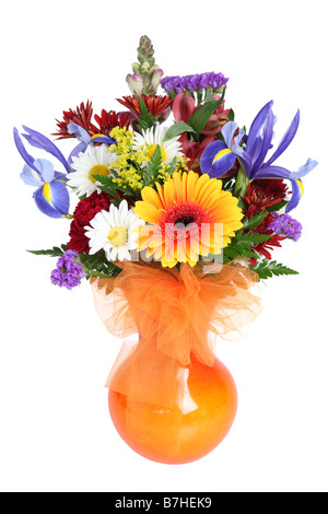 Bouquet of fresh colorful flowers cutout on white background - Stock Photo