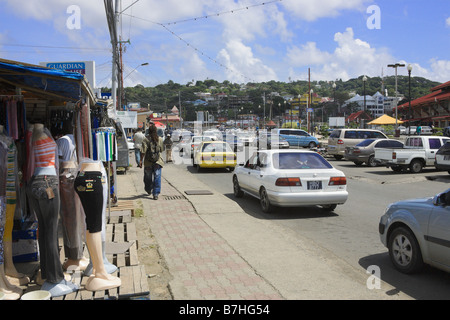 market stalls on main street scarborough tobago west indies stock photo