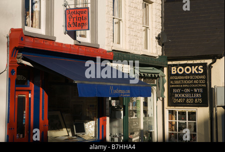 Hay on Wye in Welsh borders secondhand book and antique centre of interest street with shops and signs - Stock Photo