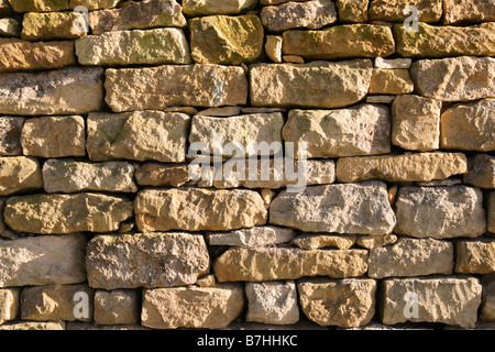 Stone Wall Stanway Glocestershire - Stock Photo
