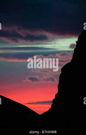 Morning glow over silhouette of Fitz Roy, Los Glaciares National Park, Argentina - Stock Photo
