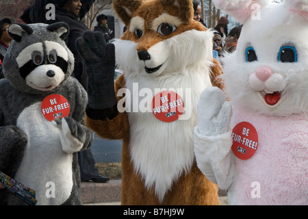 Animal Rights Activists Campaign Against Fur - Stock Photo
