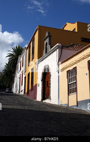 THE SMALL VILLAGE CHURCH SITS BETWEEN HOMES IN SAN ANDRES ON THE CANARY ISLAND OF LA PALMA - Stock Photo