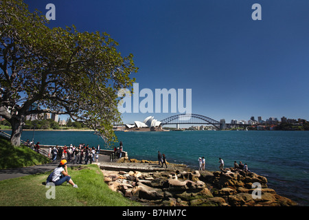 Group of asian tourists in front of Sydney skyline with opera and central business district from Mrs. Macquaries - Stock Photo