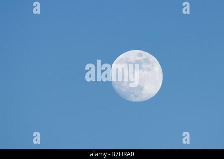 Full moon rising over Bleaklow Peak District Derbyshire UK - Stock Photo