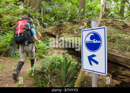 Woman (20-25) hiking past a sign saying Tsunami with an arrow in an old-growth coastal forest, Pacific Rim National - Stock Photo
