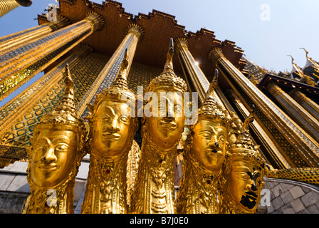 Five headed Naga serpent guarding an entrance - Wat Phra Kaew and the Grand Palace in central Bangkok Thailand - Stock Photo