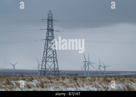 dh Causeymire Wind Farm NPOWER CAITHNESS Scotland Power lines wintery moorland Wind Turbine pylon uk flow country winter