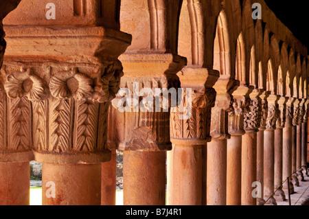 Detail of the medieval cloister of church La Colegiata de Santa Juliana in Santillana del Mar, Cantabria, Spain - Stock Photo