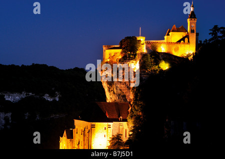 Night ilumination of the famous pilgrim destiny Rocamadour in southern France - Stock Photo