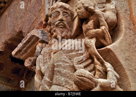 Detail of the romanesque Portal of the Abbey St. Pierre in  Beaulieu-sur-Dordogne, France - Stock Photo