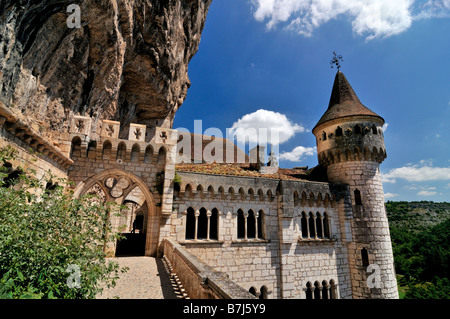 View to the Sanctuary of Rocamadour in France - Stock Photo