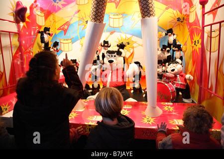 PARIS FRANCE PRINTEMPS DEPARTMENT STORE ON BOULEVARD HAUSSMANN AT NIGHT CHRISTMAS TIME DECORATIONS FOR CHILDREN - Stock Photo