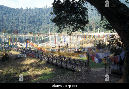 sacred buddhist pilgrimmage site at Kacheoperi lake Sikkim India - Stock Photo