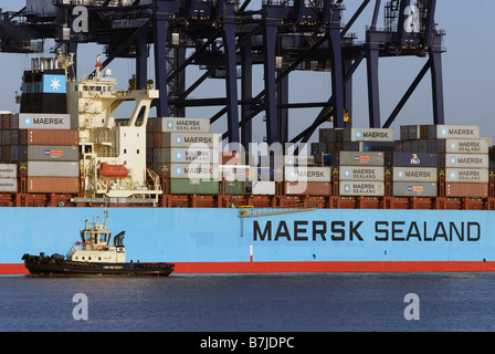 Maersk Sealand 'Michigan' container ship, Port of Felixstowe, Suffolk, UK. - Stock Photo