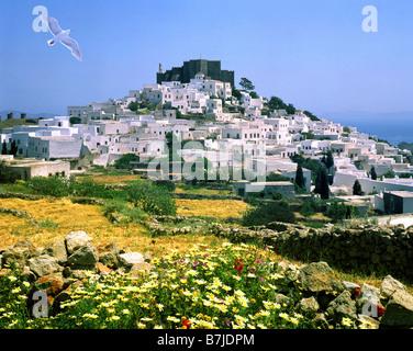 GR - PATMOS: Chora village and monastery - Stock Photo