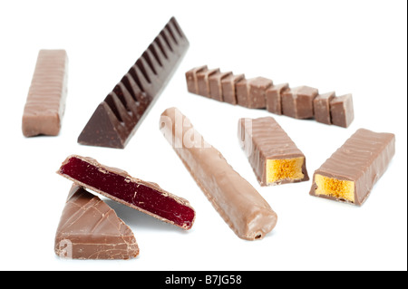 Mixed chocolate bars and pieces - Stock Photo