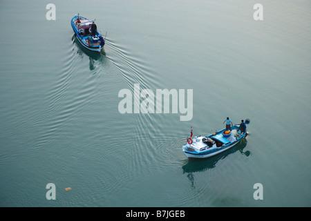 Aerial view of two fishing boats Belek Antalya Turkey - Stock Photo
