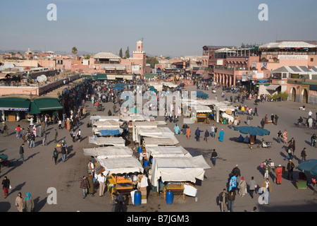 Marrakech Morocco North Africa December Looking down on the hustle and bustle of Jemaa el Fna as the sun goes down - Stock Photo