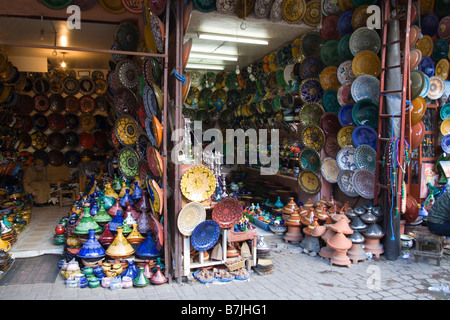 Marrakech Morocco North Africa December A huge selection of decorative ceramics for sale in the souks in the old - Stock Photo