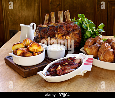roast rib of beef sunday lunch - Stock Photo