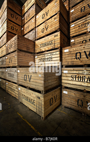 warehouse wooden storage crates potato vertical - Stock Photo