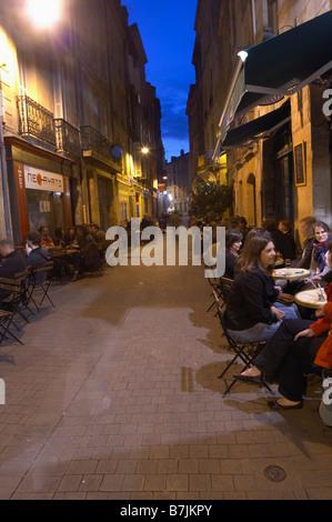 restaurant terrace rue du parlement ste catherine bordeaux france - Stock Photo
