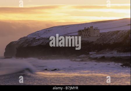 Dunbeath Castle, Dunbeath, Caithness, Scotland, winter. - Stock Photo