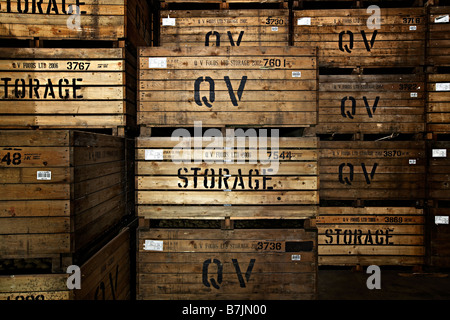 wooden storage crates potatoes - Stock Photo