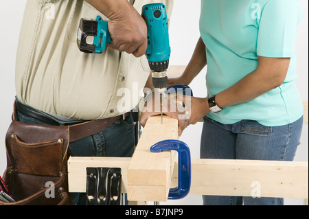 African American Couple Doing Home Improvement, Canada, British Columbia - Stock Photo