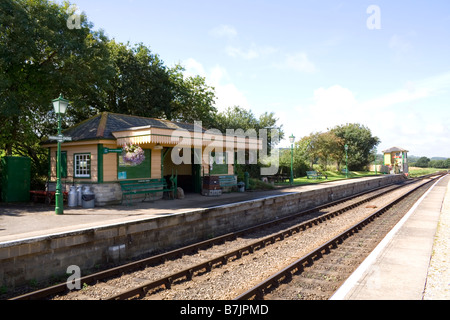 Harmans Cross Station on the Swanage steam railway between Corfe Castle and Swanage on the Isle of Purbeck in Dorset - Stock Photo