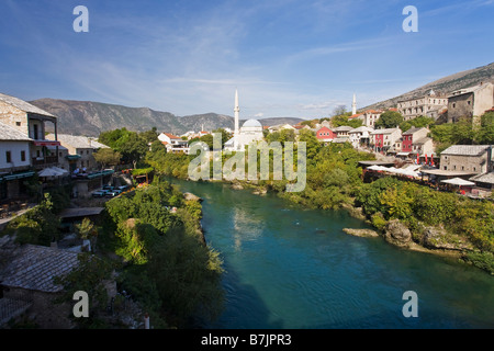 Historic Old Town of Mostar and Neretva River Unesco World Heritage Site in Bosnia Herzegovina Europe - Stock Photo