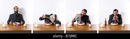 A series of photos of a strange bearded man eating a tie with some tomatoe Ketchup - Stock Photo