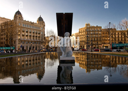 Early morning in Placa de Catalunya in Barcelona Spain - Stock Photo