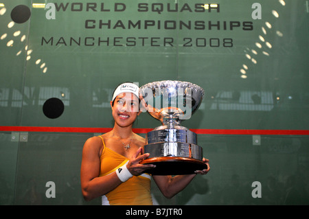 Nicol David holds the trophy after beating Vicky Botwright to win the 2008 World Squash Championships in Manchester - Stock Photo