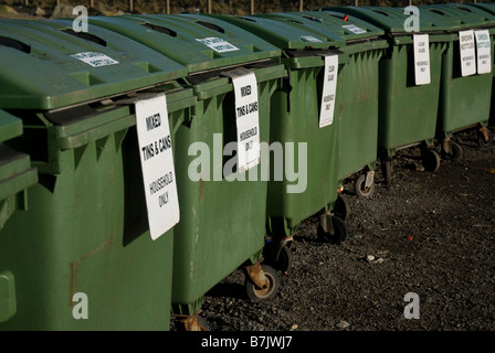 Row of public recycling bins Guernsey Channel Islands United Kingdom Metal recycling - Stock Photo
