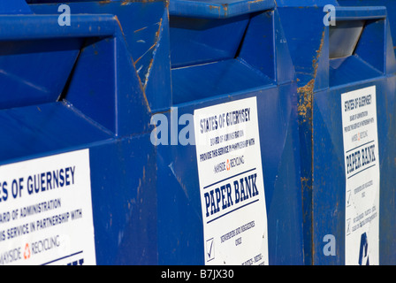 Row of public recycling bins. - Stock Photo